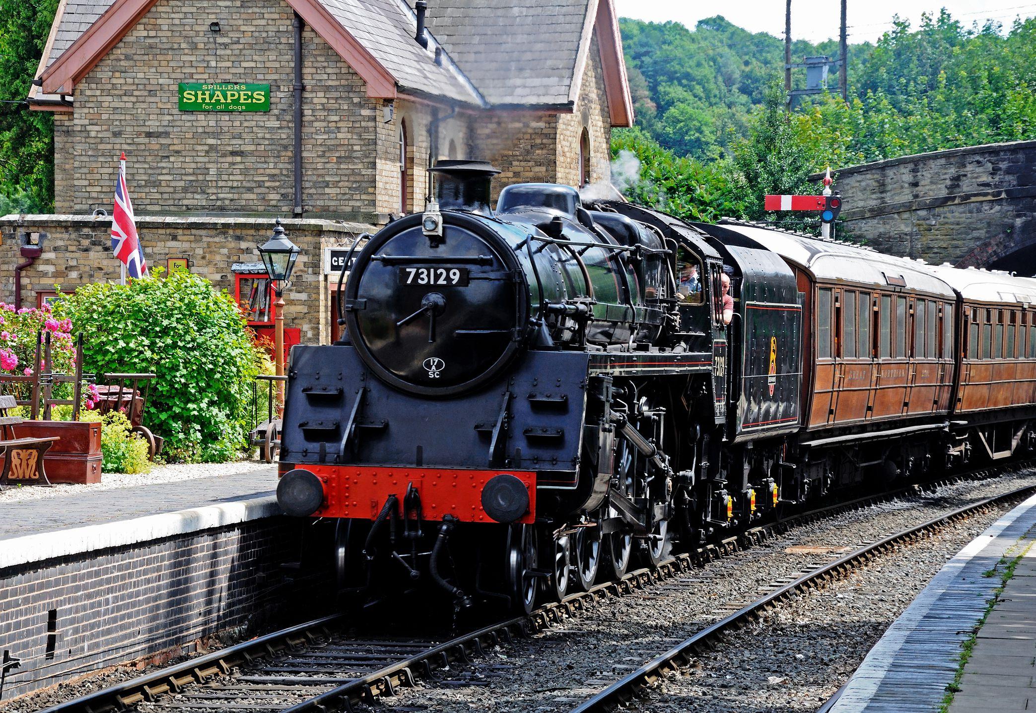 Steam locomotive at Arley railway station in Worchestshire on the Severn Valley Railway