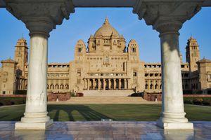 Facade of a luxurious hotel, Umaid Bhawan, Jodhpur, Rajasthan, India