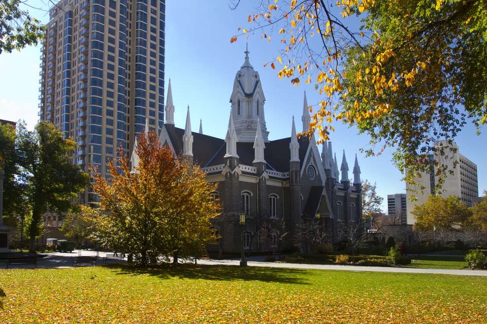 Temple square in fall