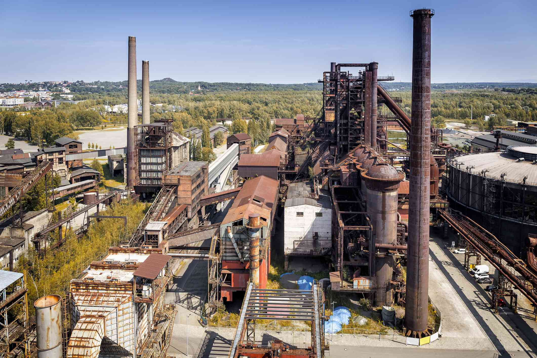 Aeral viev of the old closed coal mine and steel mill