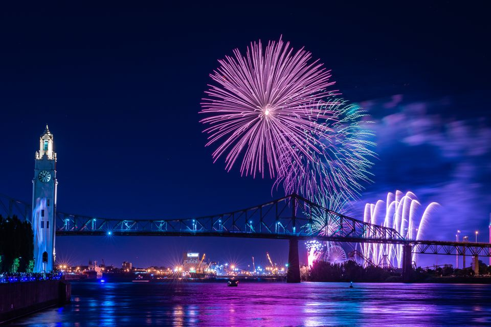 Fireworks display over a bridge
