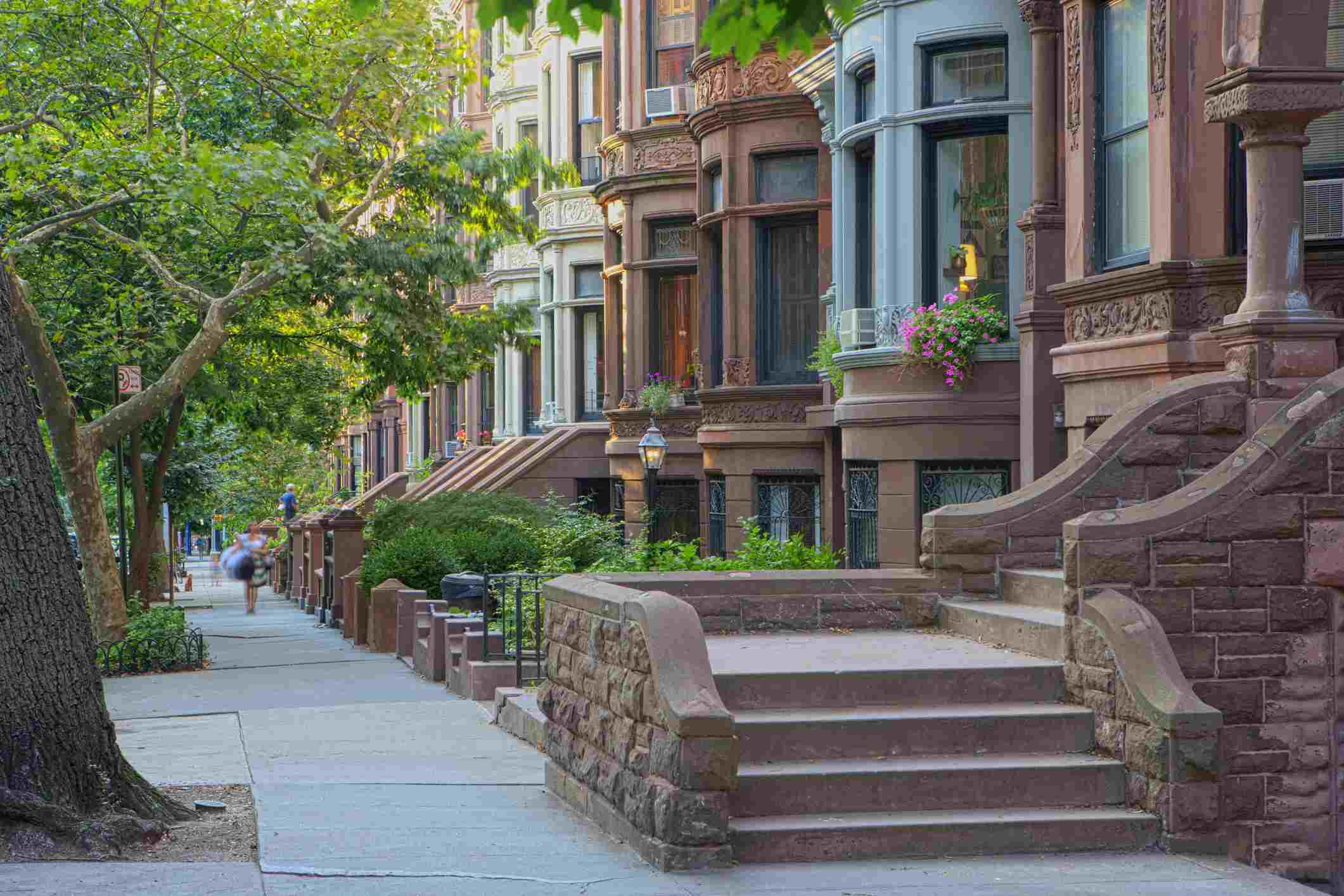 Stoop on Tree lined Block in Park Slope