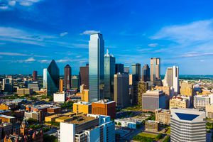 Dallas Skyline Aerial, Wide Angle With Blue Sky And Clouds