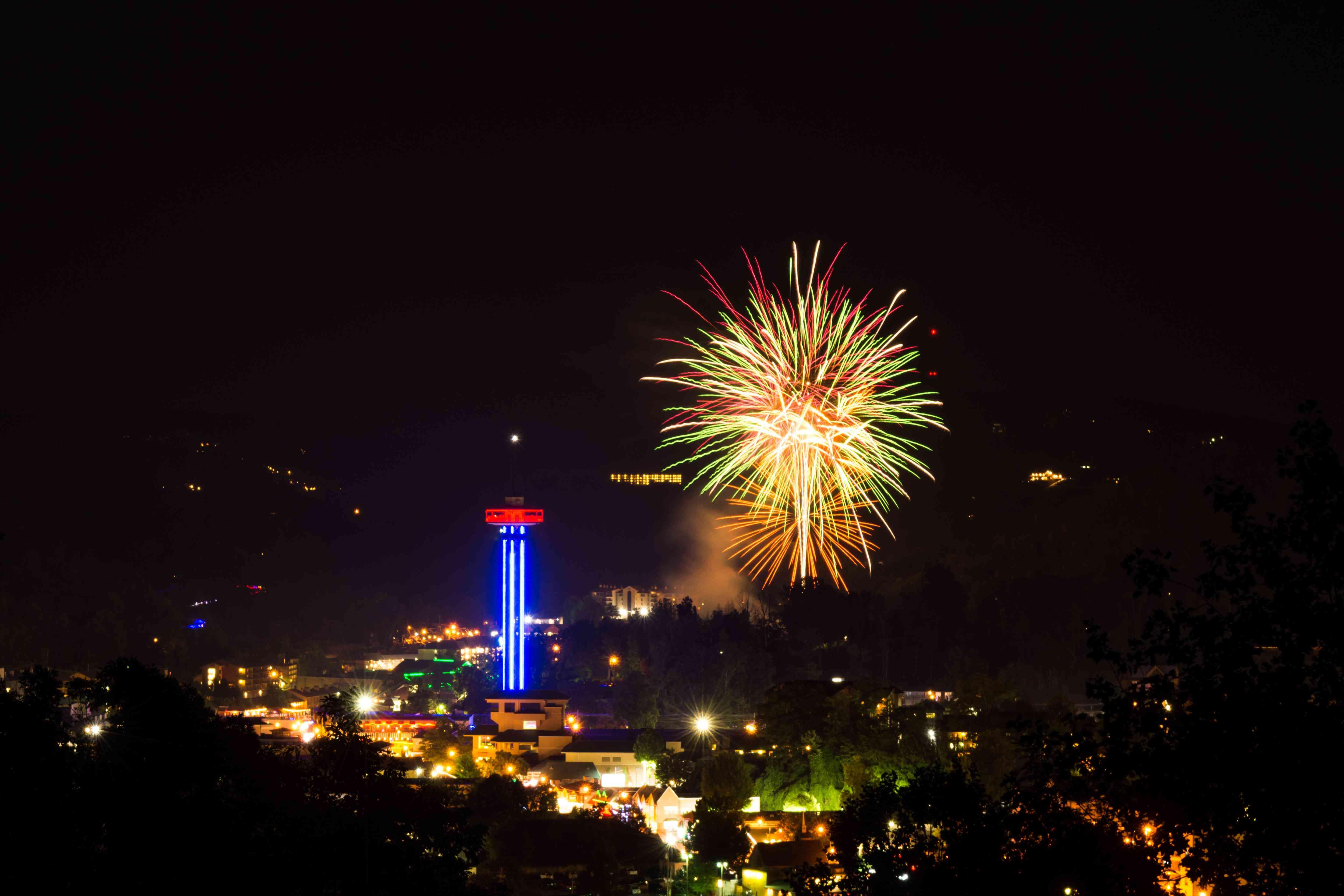 Fourth of July Fireworks Over Gatlinburg, TN
