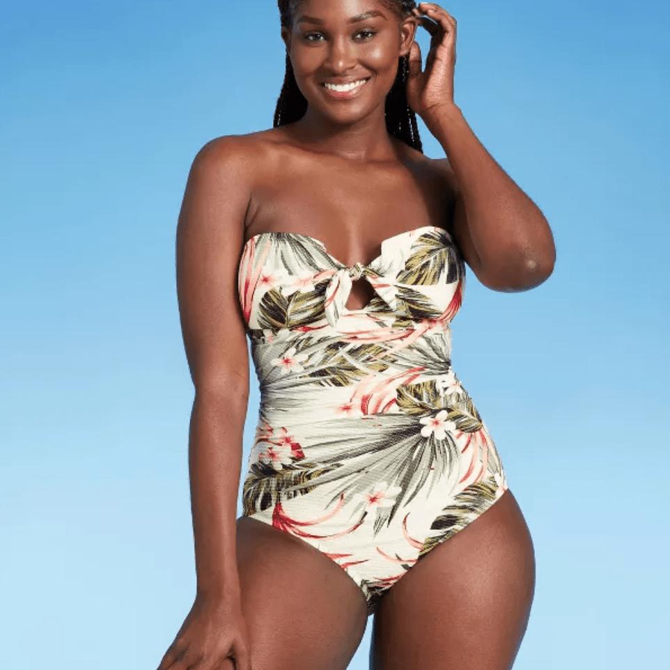 Kona Sol Pique Bandeau One-Piece Swimsuit