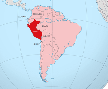 Peru On The World Map.Location Of Peru On A Global Map