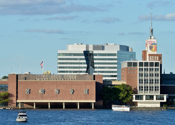 A general view of the Boston Museum of Science and the Charles River