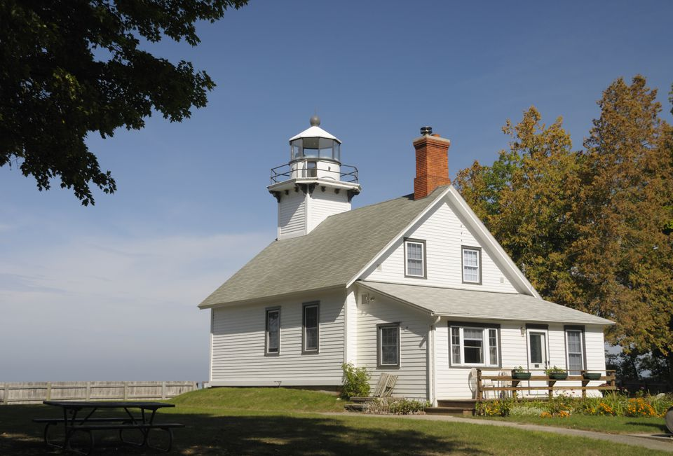 The Old Mission Pointe lighthouse outside of Traverse City, Michigan during fall