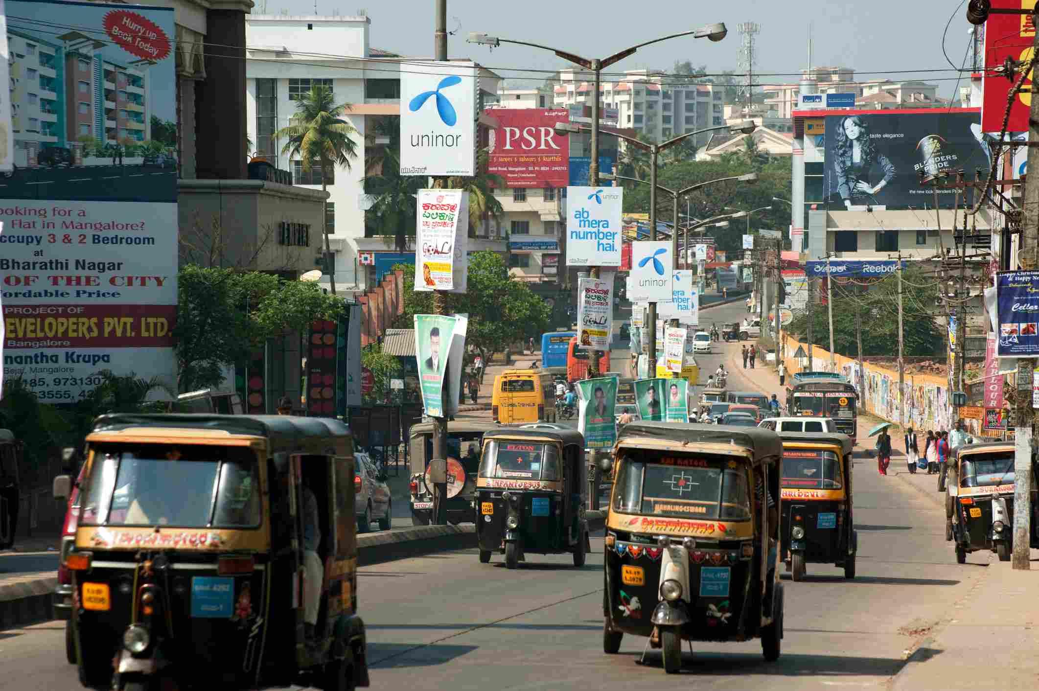 Traffic on m g road at, Mangalore, Karnataka, India
