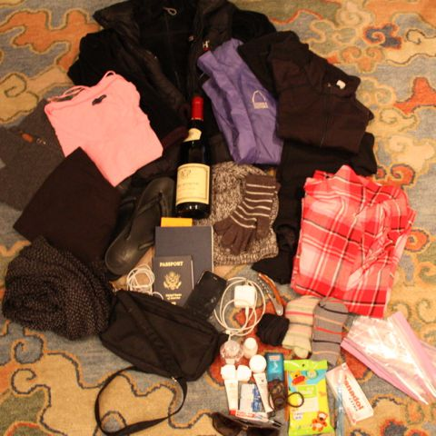 What I packed in my day-pack for the overnight trip to Huangshan