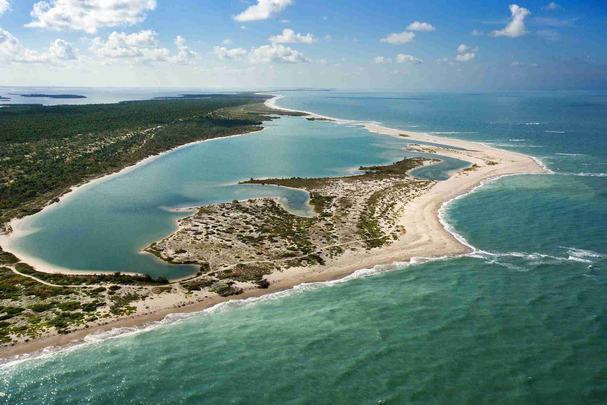 Aerial view of Cayo Costa State Park, Florida Keys