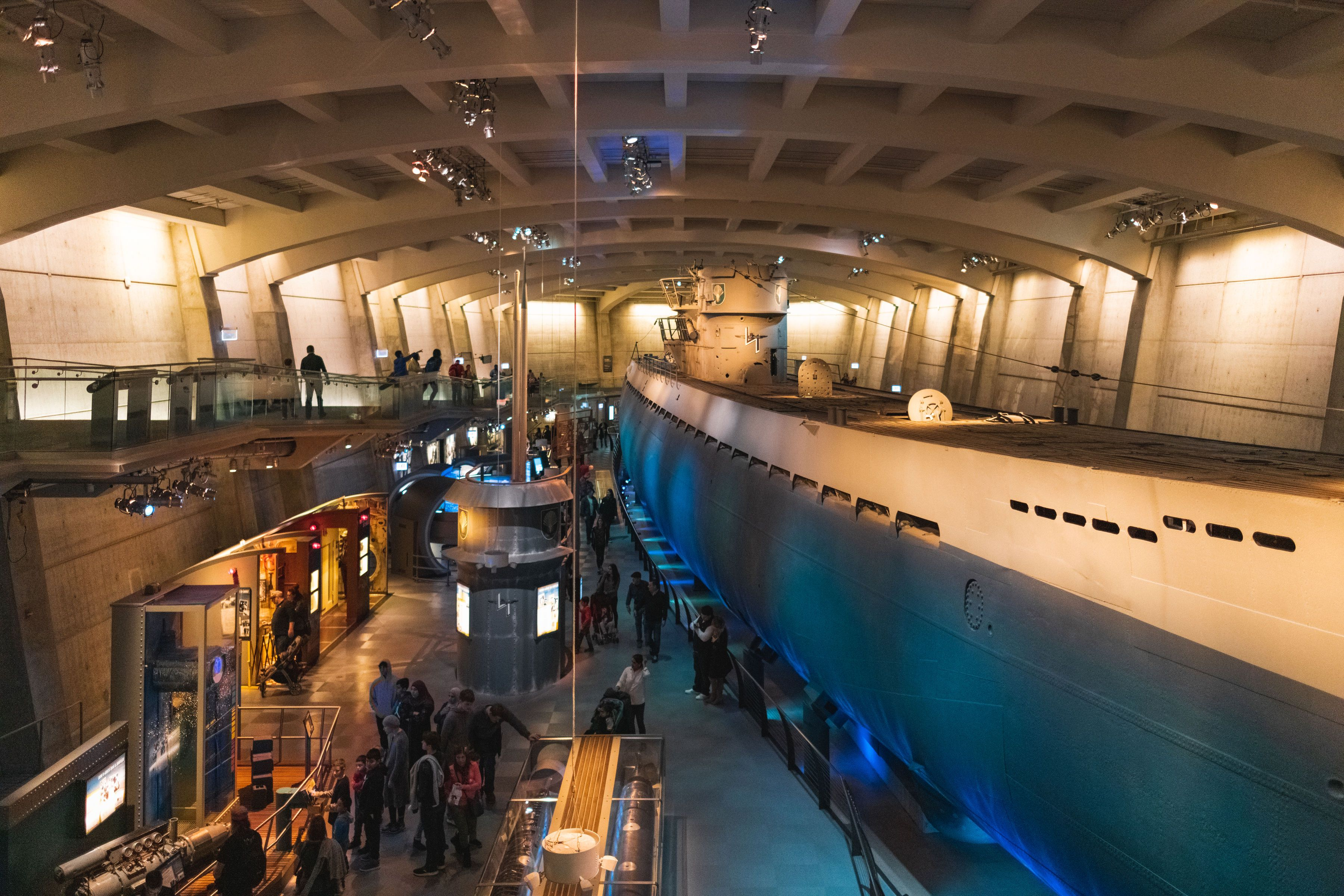 A large submarine in an exhibition hall at the Museum of Science and Industry in chicago