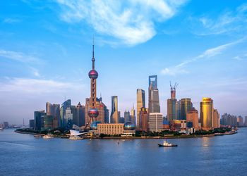 Panoramic skyline of Shanghai-Shanghai Center at the time of construction