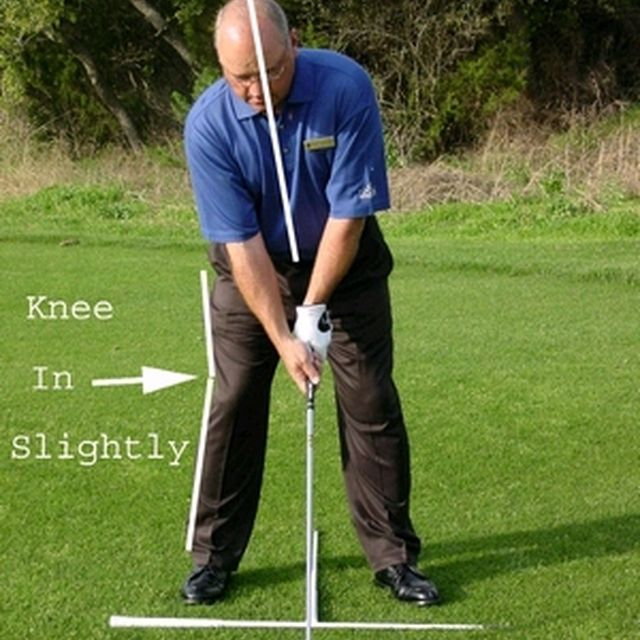 Face-on view of correct posture in the golf stance