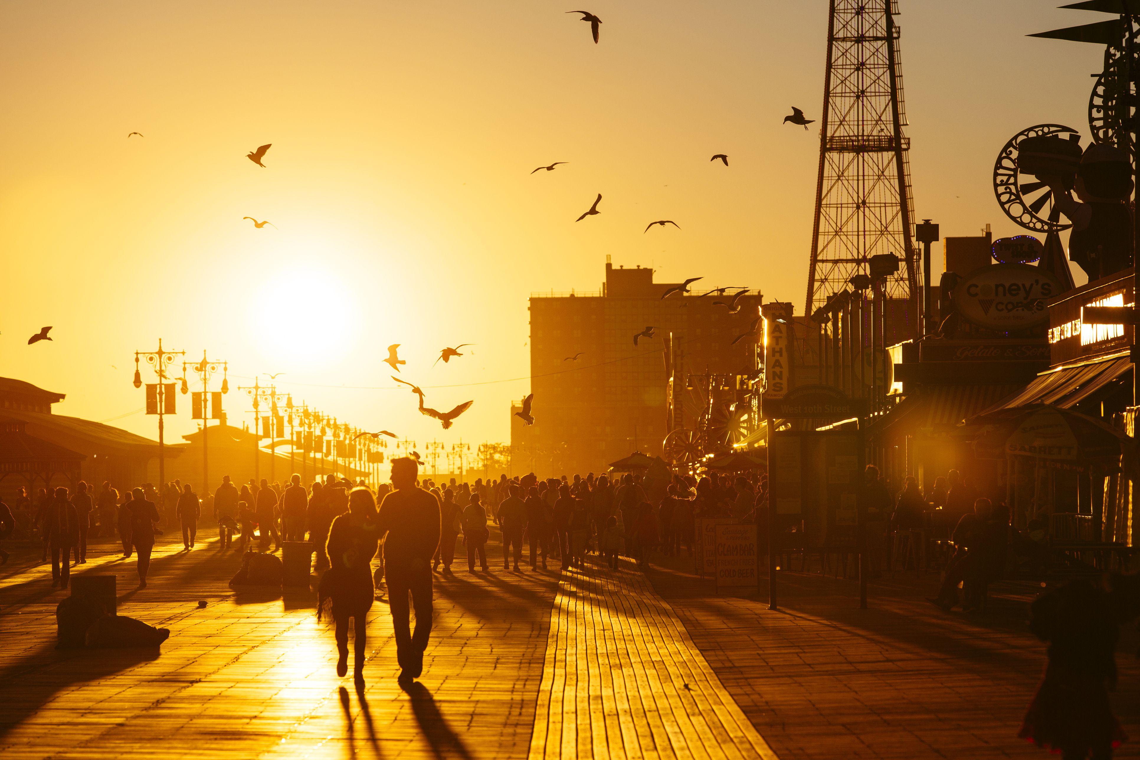 Coney Island Boardwalk at sunset, Brooklyn, NYC