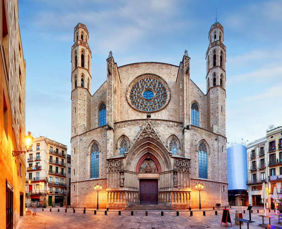 Façade of the Santa Maria del Mar Basilica in Barcelona, Spain