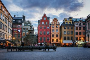 Nightfall on Stortorget Square in Stockholm's Old Town