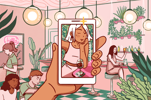 Illustration of a woman taking a selfie in a