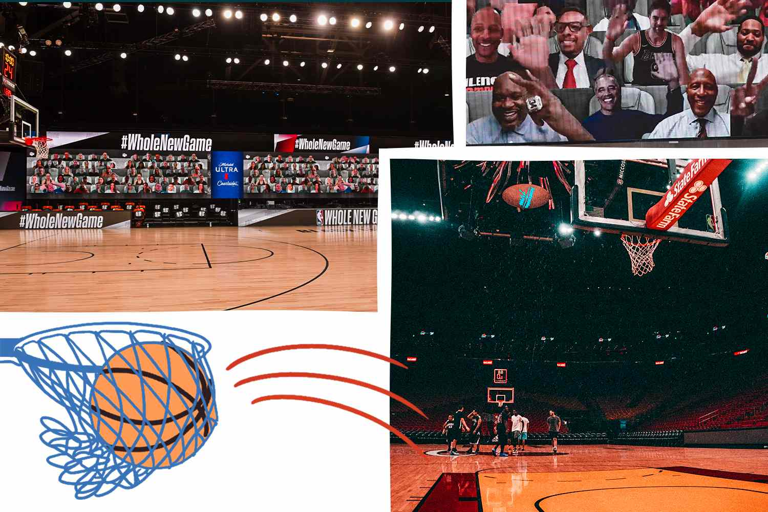 Collage of photos of NBA playing in a the Bubble they created