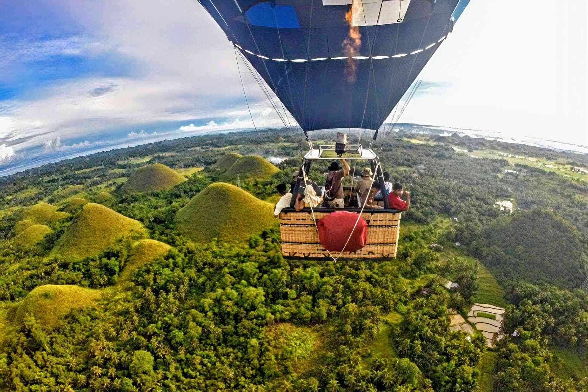 Balloon ride over Chocolate Hills, Bohol, Philippines