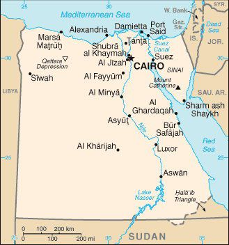 egypt covers parts of two continents africa and asia egypt map map source cia factbook