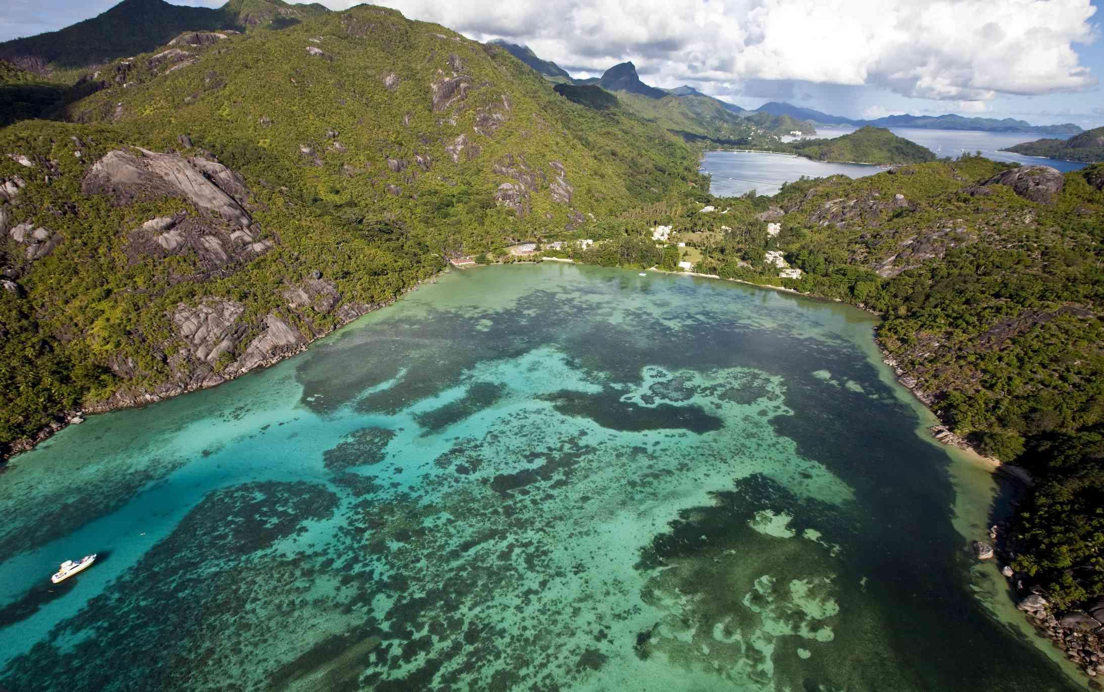 The bay of Baie Ternay, Mahe Island, Seychelles