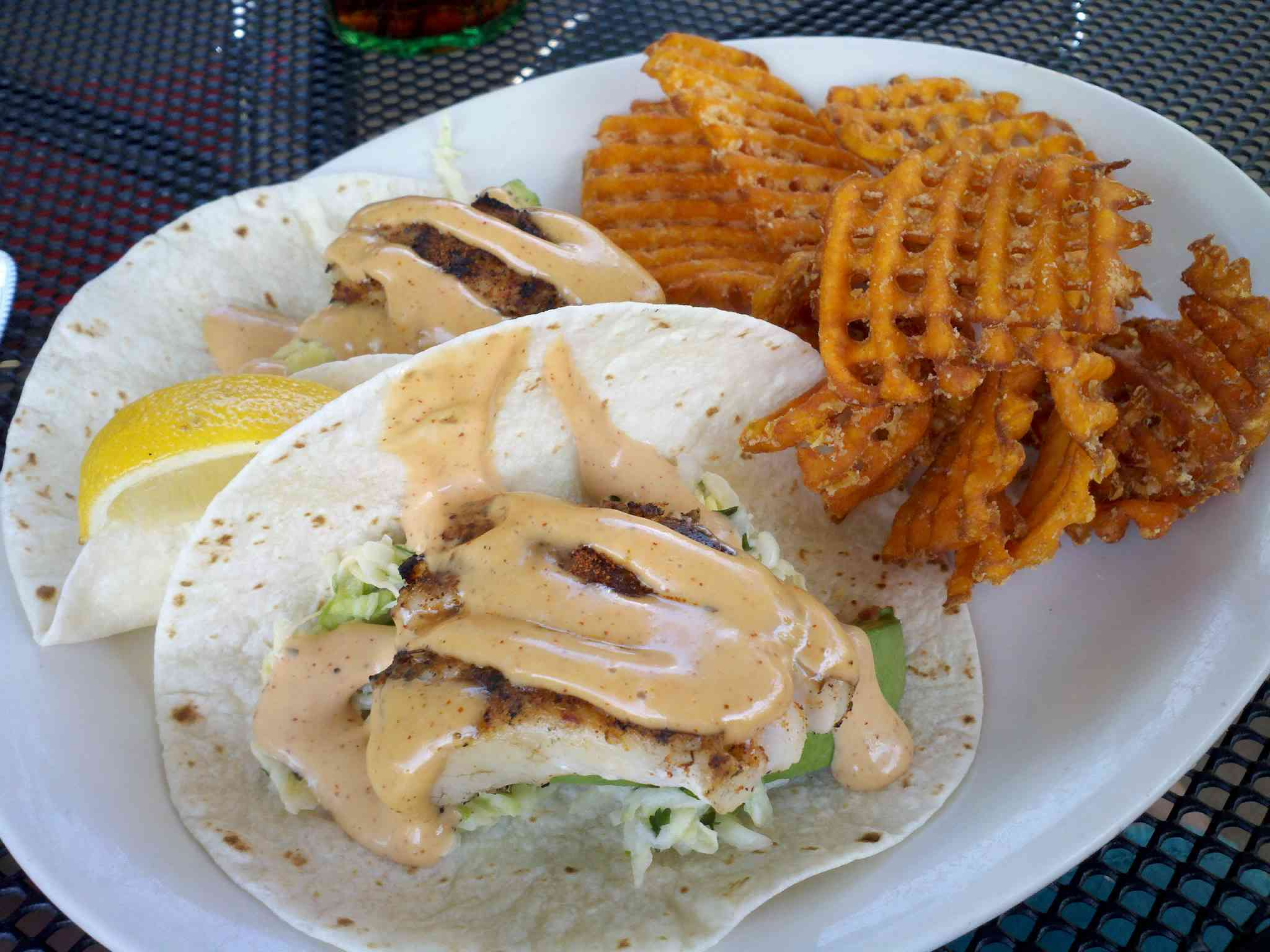 food selection - tacos and sweet potato fries