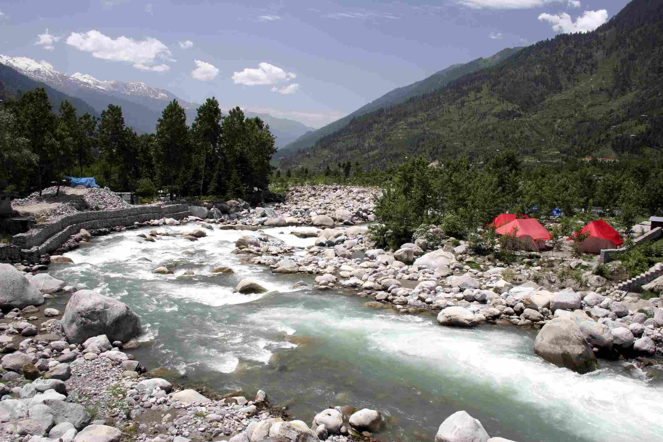 Beas river at Nehru Kund in Manali, Himachal Pradesh, India
