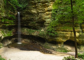 Scenic View Of Waterfall At Starved Rock State Park