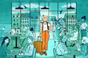 Illustration of solo traveler looking for a table while dining
