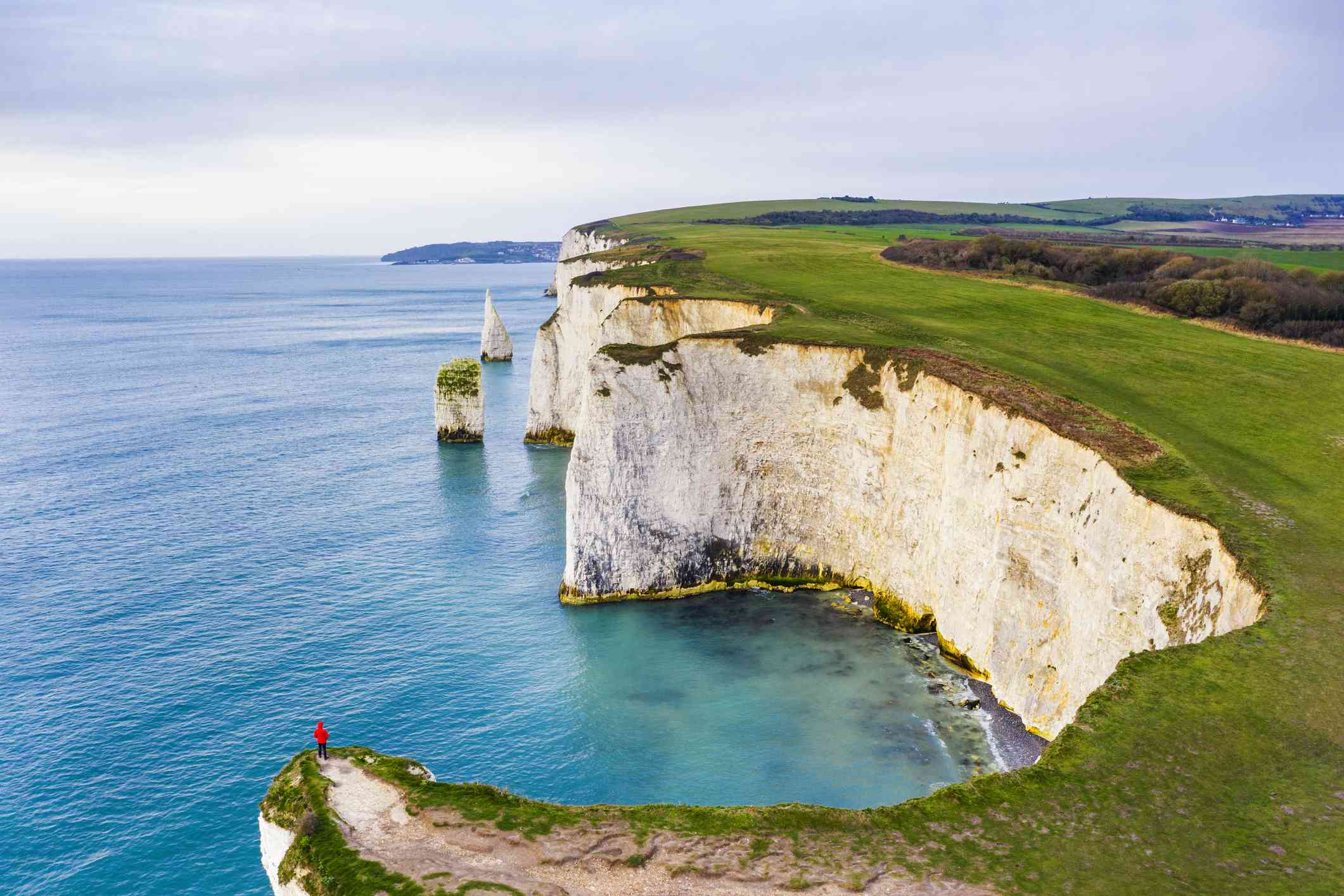 One person looking at view at Old Harry Rocks, Dorset, England