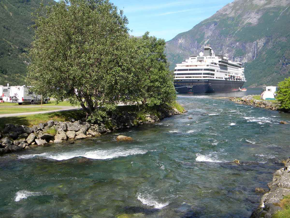 Holland America Maasdam at anchor in the Geirangerfjord in Norway
