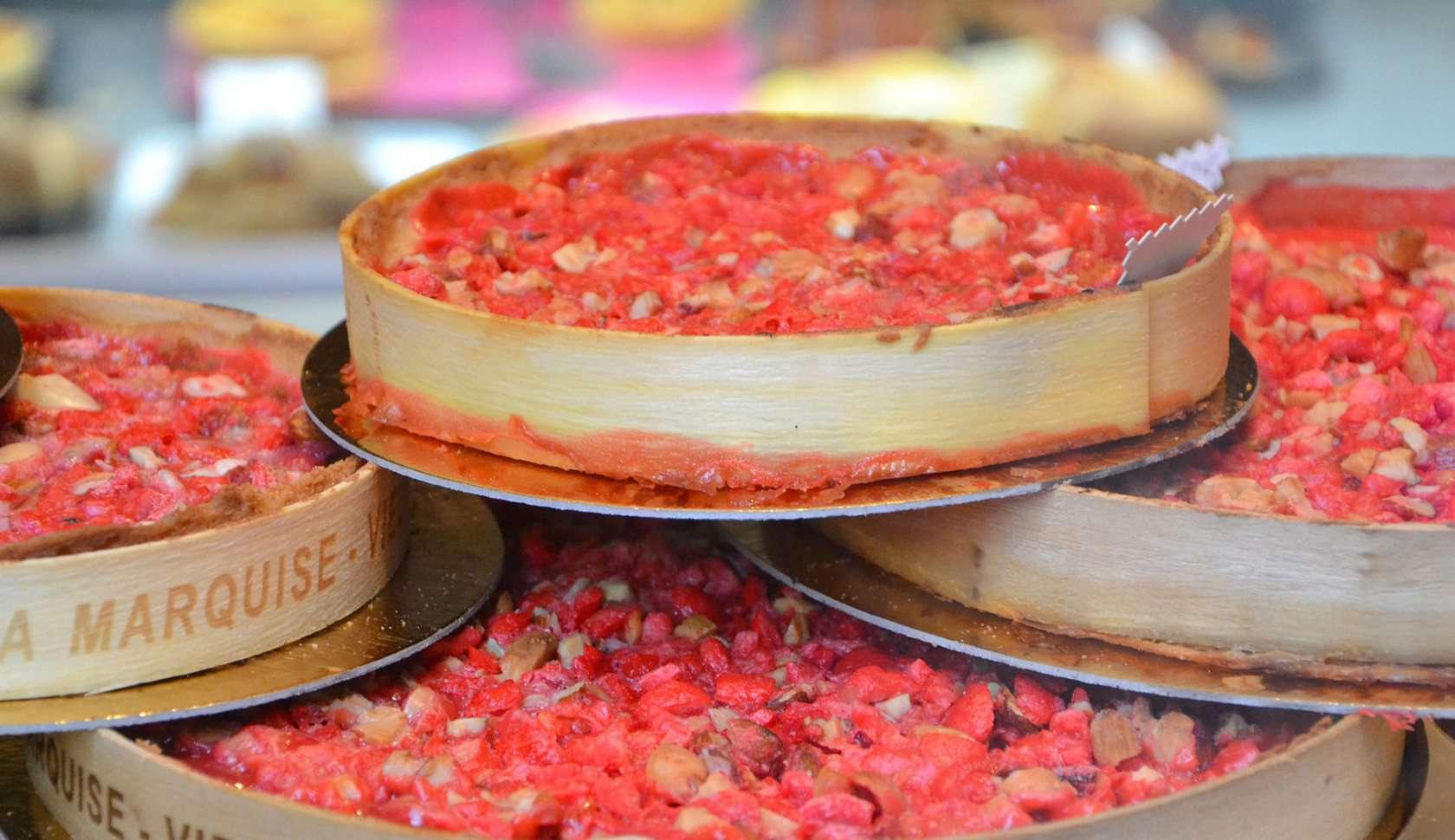 Pink praline tart from Lyon, France