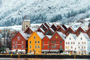Hanseatic houses in Bryggen at winter.