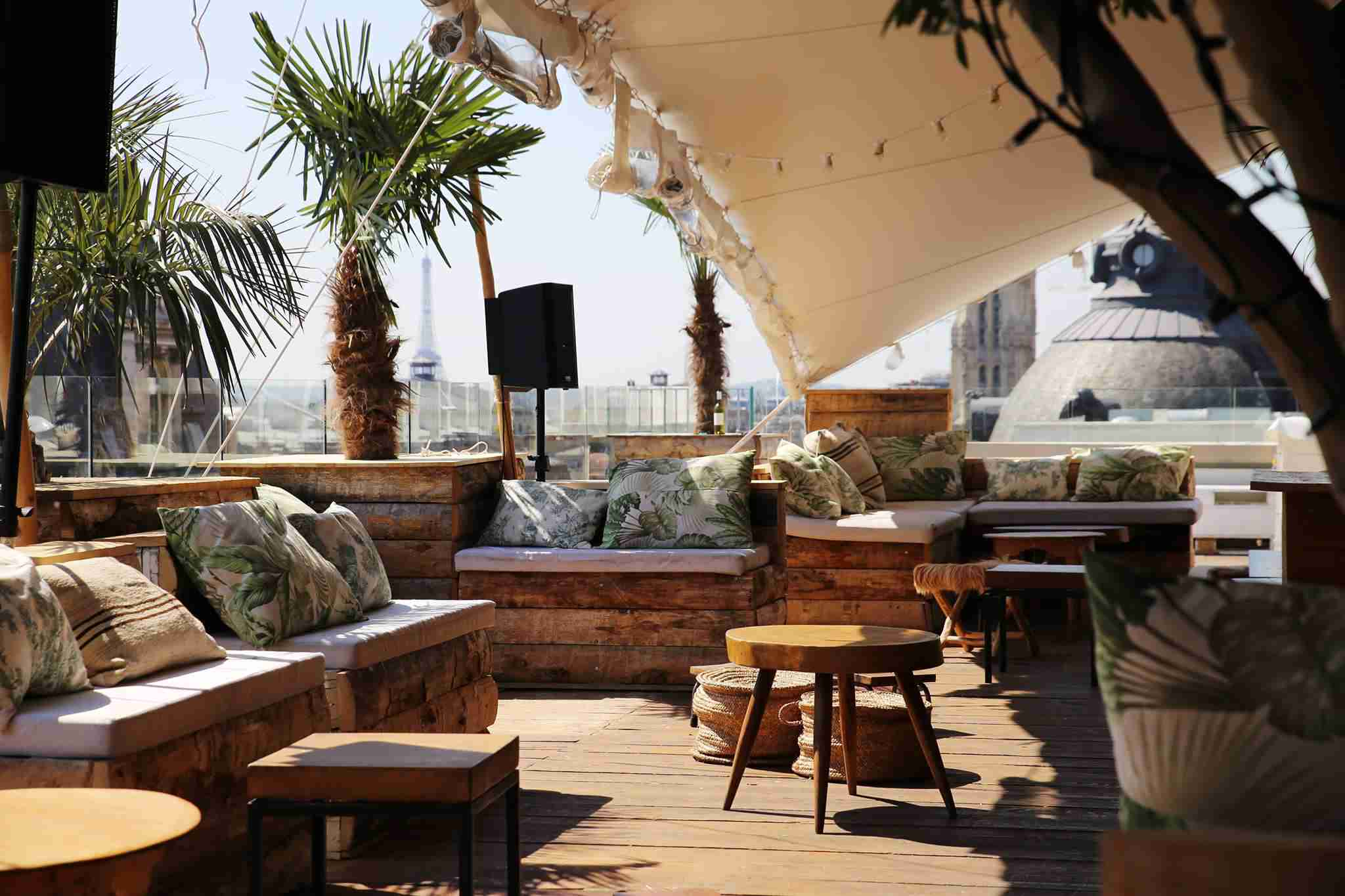 The Perchoir Marais rooftop bar is bright and cheerful, with a lazy-Floridan feel.