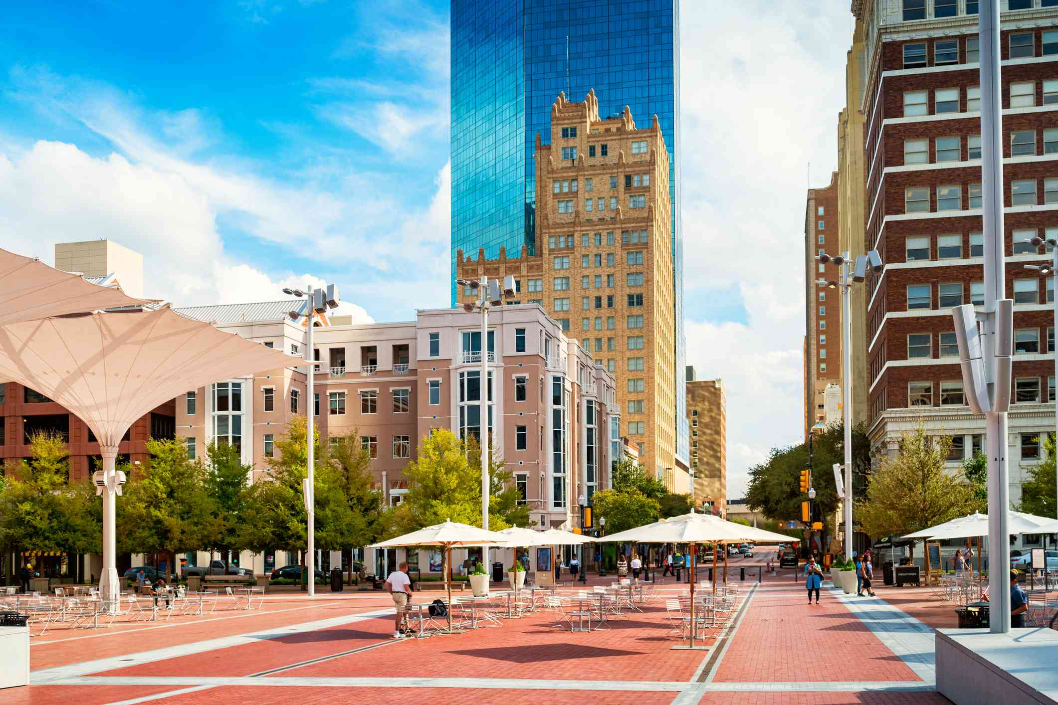 Sundance Square Plaza in downtown Fort Worth Texas USA