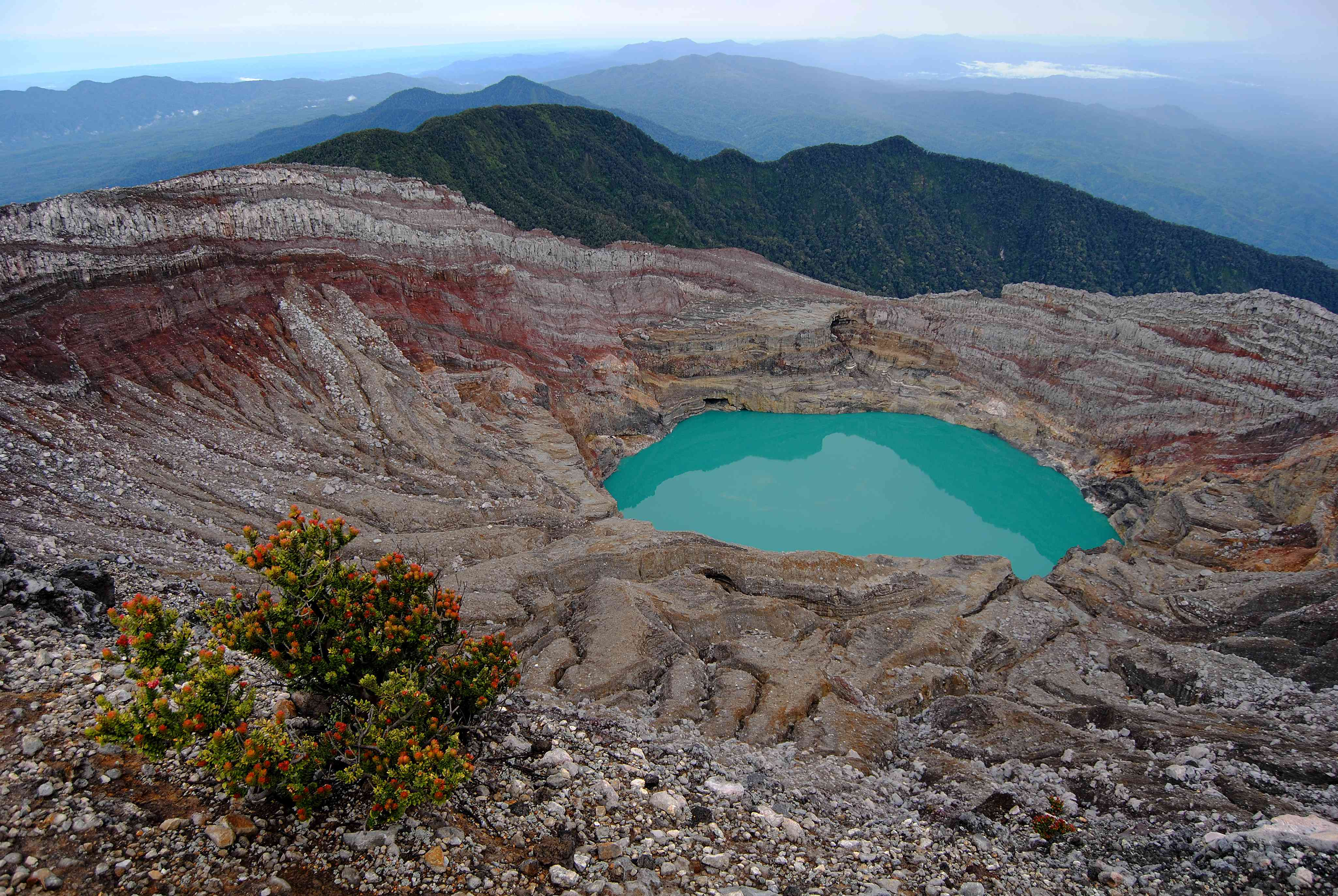 Blue water in a crater atop Mount Dempo in South Sumatra