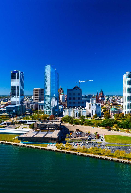 Milwaukee Skyline And Shoreline Aerial