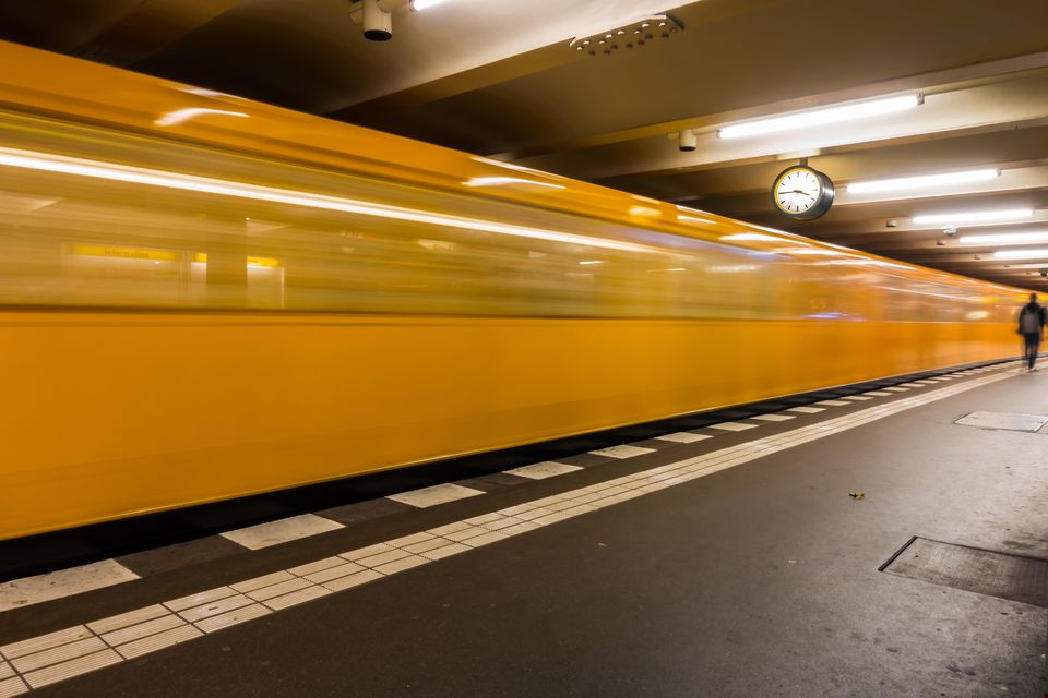 Blurred Motion Of Train At Illuminated Berlin U-Bahn