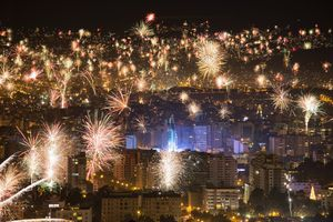 Fireworks Over The City Of Cochabamba At New Years