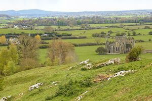 View on Hore Abbey ruins from the Irish castle, the Rock of Cashel, a.k.a. the Kings & St. Patrick's Rock, Cashel, County Tipperary, Munster Province, Republic of Ireland.