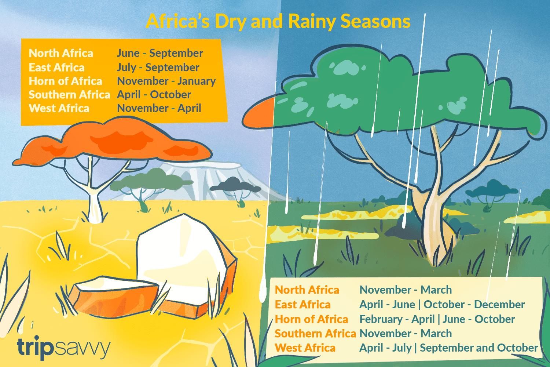 Ilustración que representa las diferentes estaciones del año en África