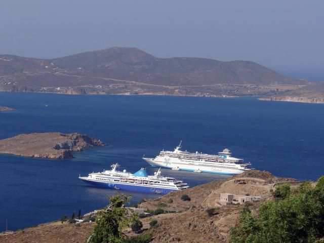 Celestyal Odyssey and Celestyal Olympia at Patmos