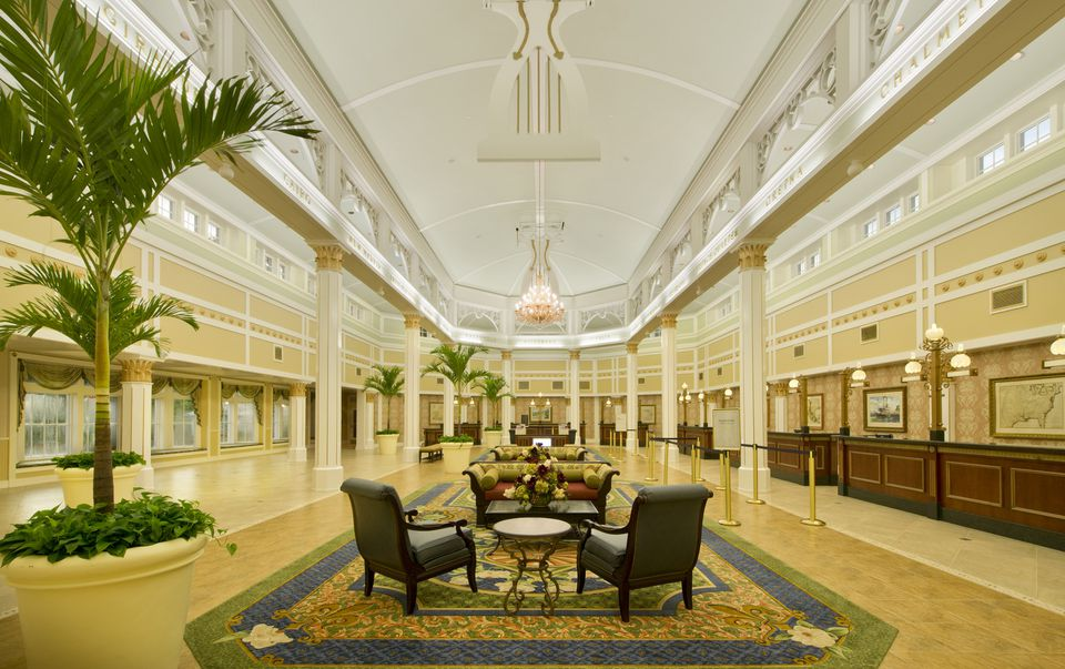 The lobby of the Port Orleans resort