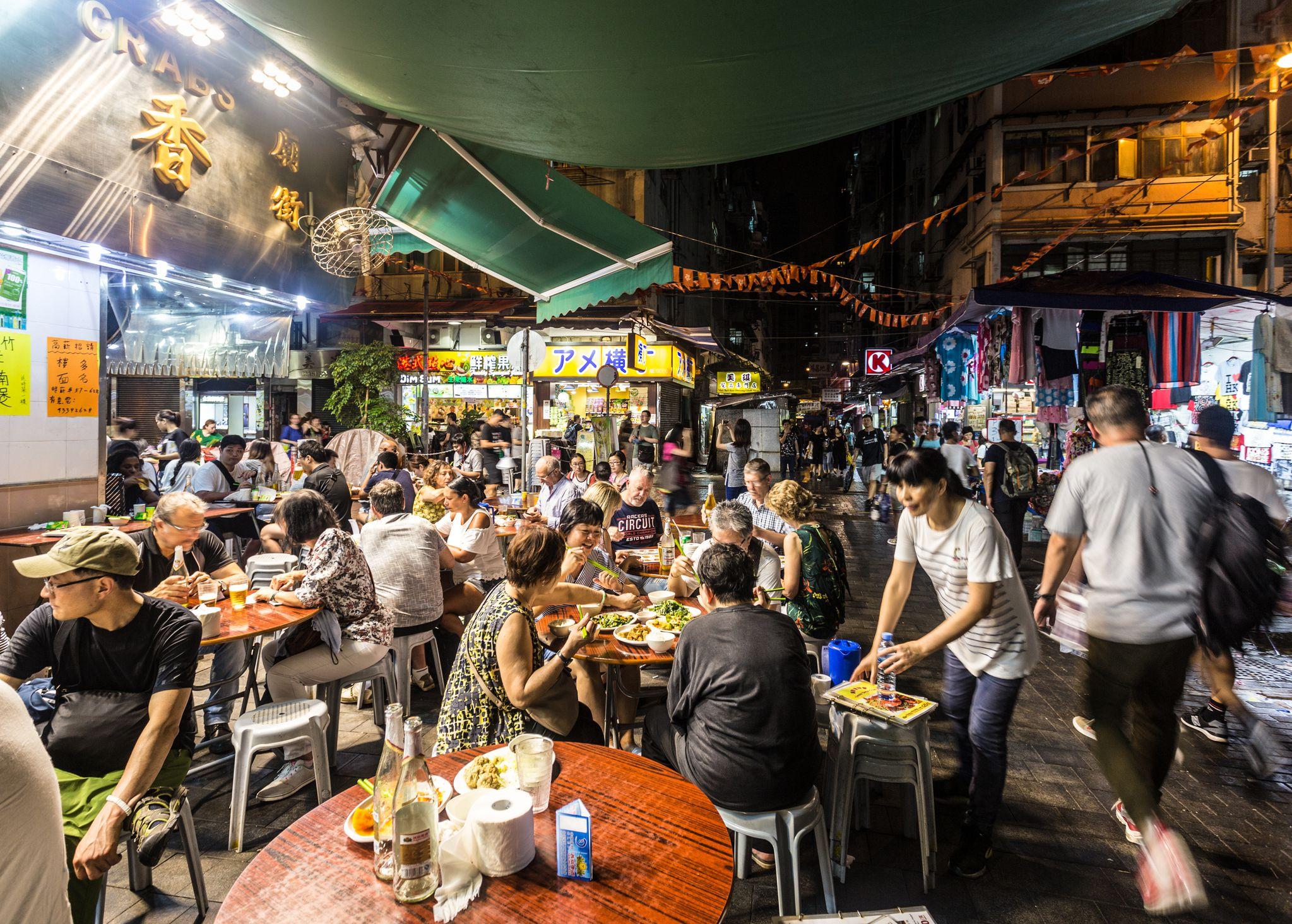 Street food scene in Hong Kong