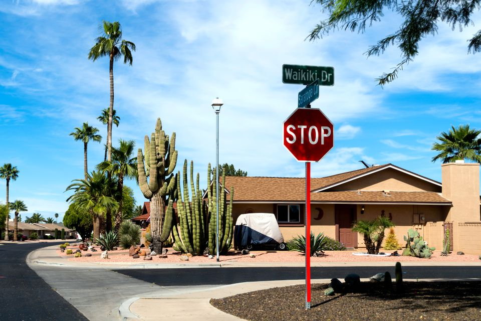 A stop sign at a typical intersection in Sun City, Arizona