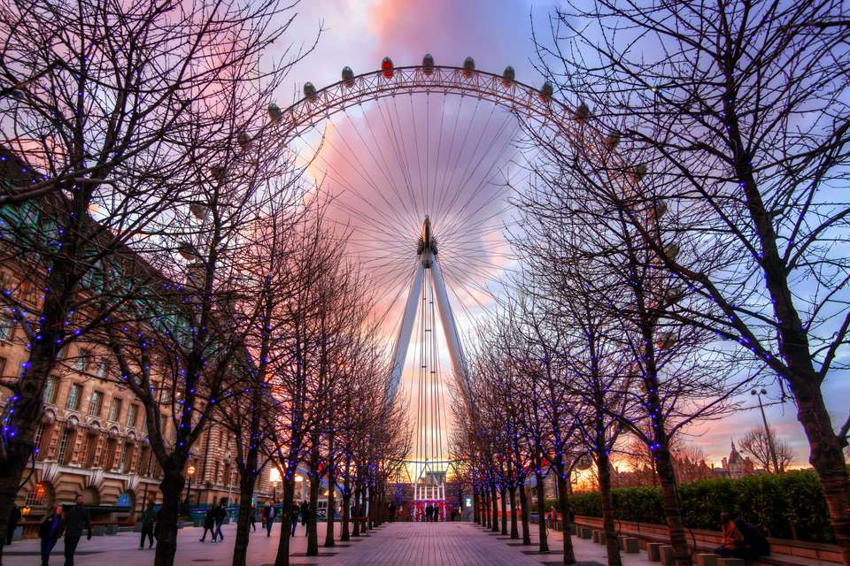 Large Ferris wheel with path of trees in front and sunset behind, London Eye, South Bank, London, England