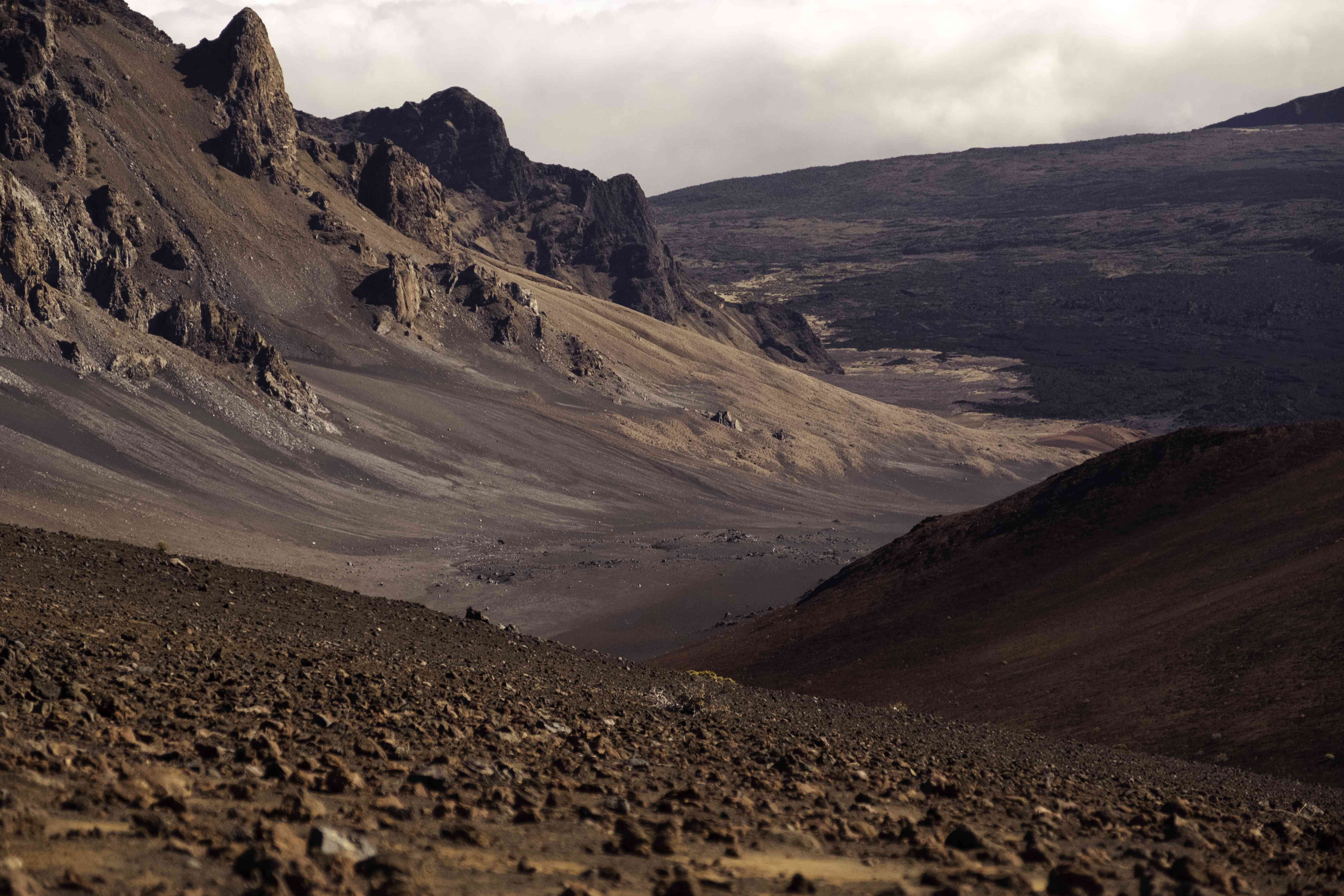 Inside the crater at Haleakala National Park