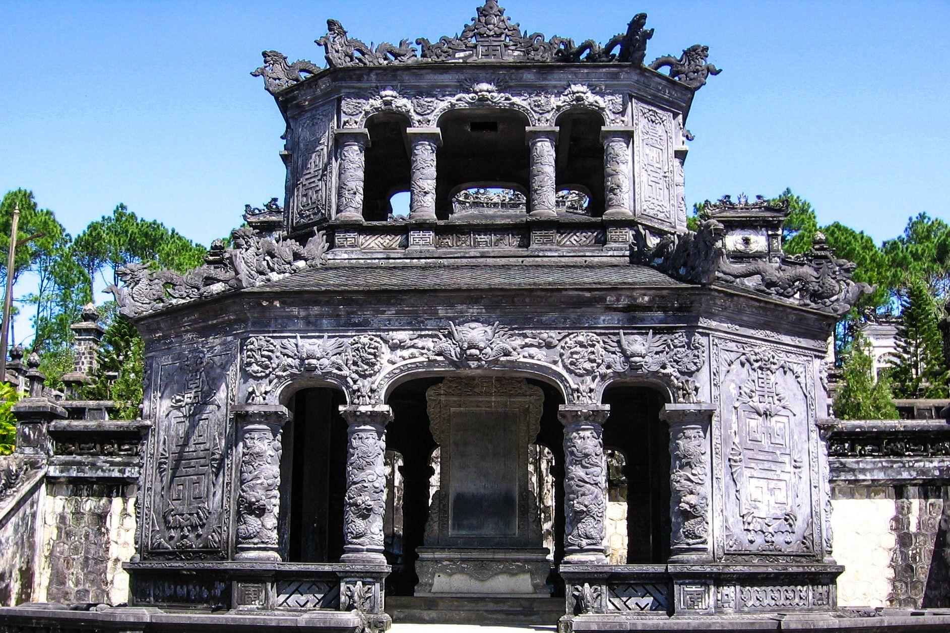 Stele Pavilion, forecourt, Khai Dinh Royal Tomb, Hue, Vietnam.