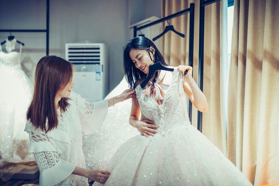 Bride shopping for dress